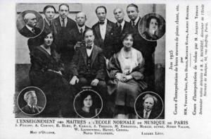 Postcard featuring Faculty members of the Ecole in 1925